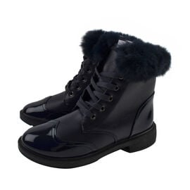 Warm Faux Fur Ankle Boots - Navy