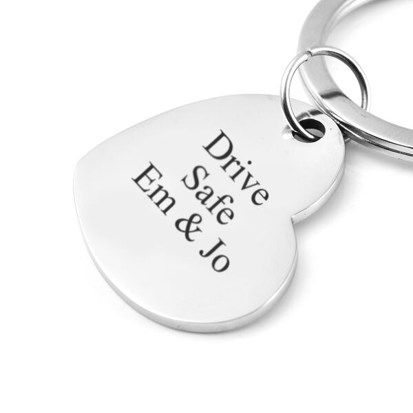 Personalised Engravable Heart disc Key ring in Stainless Steel