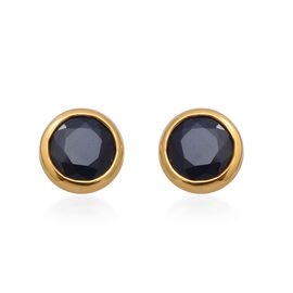 3.10 Ct Kanchanaburi Blue Sapphire Solitaire Stud Earrings in Gold Plated Silver