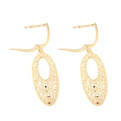 JCK Vegas Collection - 9K Yellow Gold Diamond Cut Drop Earrings, Gold wt 3.27 Gms.