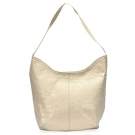 100% Genuine Leather RFID Blocker Croc Embossed Hobo Tote Bag (Size 35x27x15 Cm) - Off White Colour