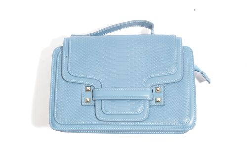 Chelsea Snake Embossed Blue Colour Crossbody Bag with Adjustable and Removable Shoulder Strap (Size 25x17x7.5 Cm)