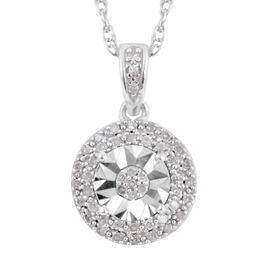 Diamond (Rnd) Pendant with Chain (Size 18) in Rhodium Overlay Sterling Silver 0.125 Ct.