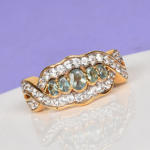 Narsipatnam Alexandrite and Natural Cambodian Zircon Five Stone Ring in 14K Gold Overlay Sterling Silver 1.00 Ct.