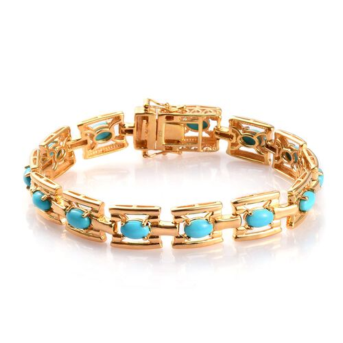 AA Arizona Sleeping Beauty Turquoise Bracelet (Size 7) in 14K Gold Overlay Sterling Silver 6.00 Ct.,