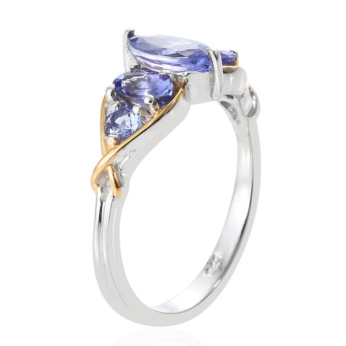 Tanzanite (Mrq), Ring in Platinum Overlay and Yellow Gold Sterling Silver 1.350 Ct.
