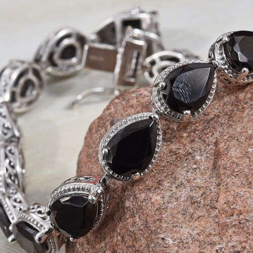 Elite Shungite (Pear) Bracelet (Size 7.5) in Platinum Overlay Sterling Silver 14.50 Ct, Silver wt 14.19 Gms