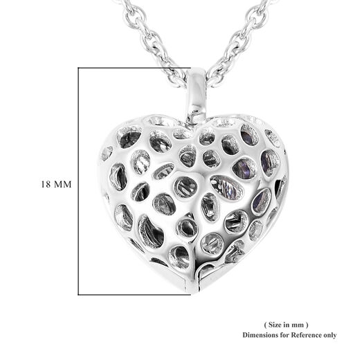 RACHEL GALLEY Angel Heart Collection - Tanzanite Lattice Heart Locket Pendant with Chain (Size 20 with Extender) in Rhodium Overlay Sterling Silver