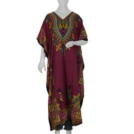 Tribal Printed Kaftan (Size 81.28x121.92 Cm) - Magenta Colour