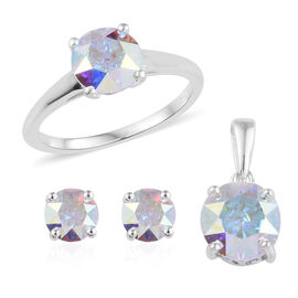 3 Piece Set - J Francis Crystal from Swarovski AB Crystal (7 mm) Solitaire Ring, Stud Earrings and P