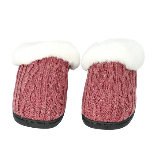 Knitted Slippers with Faux Fur (Size L: 7-8) - Burgundy