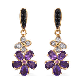 GP Amethyst (Pear),Rhodolite Garnet, Boi Ploi Black Spinel, Natural Cambodian Zircon and Kanchanaburi Blue Sapphire Floral Earrings (with Push Back) in 14K Gold Overlay Sterling Silver 2.250  Ct.