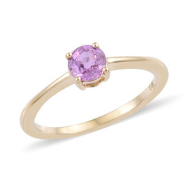 14K Yellow Gold AA Pink Sapphire (Rnd 5 mm) Solitaire Ring 0.500 Ct.