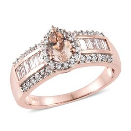 Marropino Morganite (Pear), Natural Cambodian Zircon Ring in Rose Gold Overlay Sterling Silver 2.000