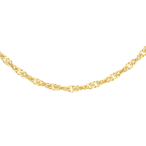 ILIANA 18K Yellow Gold Twisted Curb Chain (Size 18), Gold wt 1.30 Gms