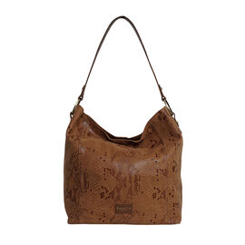 Assots London ESME Genuine Suede Leather Python Print Hobo Bag - Tan