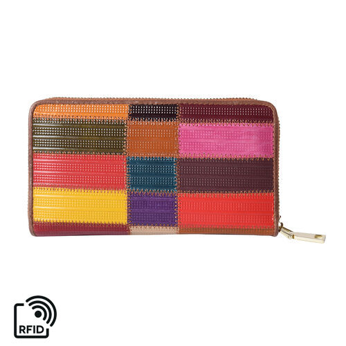 Multi Colour Genuine Leather RFID  Clutch Wallet with Zipper Closure in Gold Tone (Size 19x2x10cm)