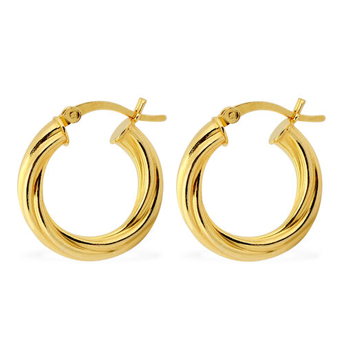 NY Designer Close Out Deal - Yellow Gold Overlay Sterling Silver Hoop Earrings