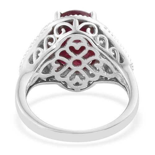 African Ruby (Ovl 6.25 Ct), Natural Cambodian Zircon Ring in Platinum Overlay Sterling Silver 7.000 Ct.