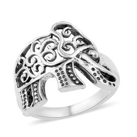 Artisan Crafted Sterling Silver Filligree Elephant Ring, Silver wt 3.97 Gms