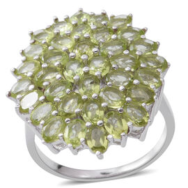 Hebei Peridot (Ovl) Cluster Ring in Rhodium Plated Sterling Silver 6.480 Ct., Silver wt 6.00 Gms.