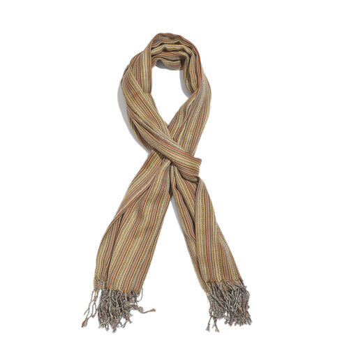 100% Merino Wool Mustard, Red and Multi Colour Stripes Pattern Scarf with Tassels (Size 210X95 Cm)