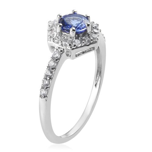 9K White Gold Tanzanite and Natural Cambodian Zircon Ring 1.00 Ct.