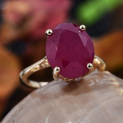 9K Yellow Gold AA African Ruby (FF) Solitaire Ring 6.85 Ct.
