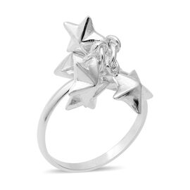 Sterling Silver Stars Dangle Charm Ring (Size Q), Silver wt 4.30 Gms