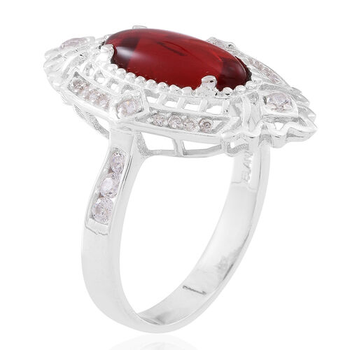 ELANZA Simulated Ruby (Ovl), Simulated White Diamond Ring in Rhodium Plated Sterling Silver