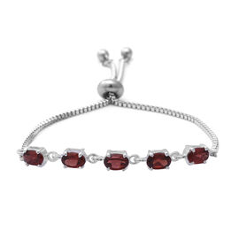 Mozambique Garnet (Ovl) Bolo Bracelet (Size 6.5-8 Adjustable) in Sterling Silver and Steel 2.60 Ct.