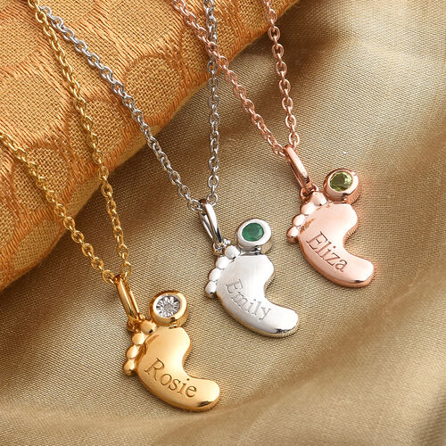 Personalise Baby Feet Birthstone and Name Pendant with Chain in Silver