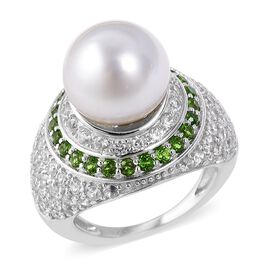 White South Sea Pearl (Rnd), Russian Diopside and Natural White Cambodian Zircon Ring in Rhodium Ove
