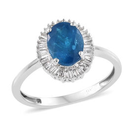 1.4 Ct AAA Neon Apatite and Diamond Halo Ring in 9K White Gold 2.13 Grams