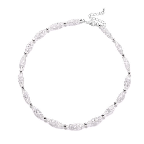 White Austrian Crystal Necklace (Size 18 with 4 inch Extender) in Silver Tone