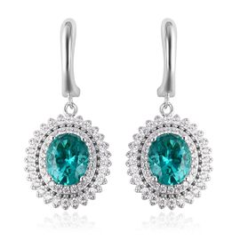 ELANZA Simulated Colombian Emerald (Ovl), Simulated Diamond Earrings (with Clasp) in Rhodium Overlay
