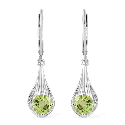 AA Hebei Peridot (Rnd), Natural Cambodian Zircon Lever Back Earrings in Platinum Overlay Sterling Silver 2.000 Ct.