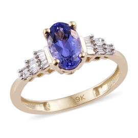 1.25 Carat Tanzanite and Diamond Ballerina Ring in 9K Gold 1.8 Grams