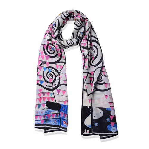 100% Mulberry Silk Black, Pink and Multi Colour Whirlpool and Triangle Pattern Scarf (Size 160x45 Cm