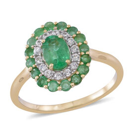 1.75 Ct AAA Zambian Emerald and White Zircon Floral Ring in 9K Gold 2.5 Grams