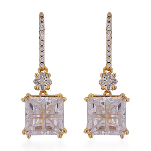 ELANZA Simulated Diamond Earrings in Yellow Gold Overlay Sterling Silver 7.27 Ct.