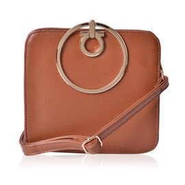 Chocolate Colour Tote Bag With Adjustable and Removable Shoulder Strap (Size 19x17.5x6 Cm)