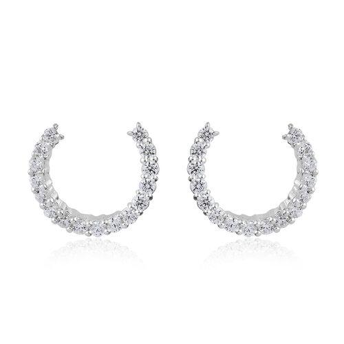 J Francis - Sterling Silver (Rnd) J Hoop Earrings Made with SWAROVSKI ZIRCONIA