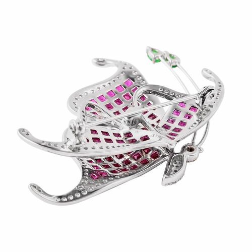Lustro Stella - Mystery Setting Simulated Ruby, Simulated Diamond and Simulated Emerald Butterfly Brooch in Rhodium Overlay Sterling Silver