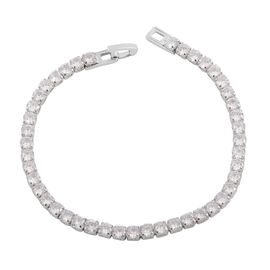 Simulated Diamond (Rnd) Bracelet (Size 7.75) in Silver Plated
