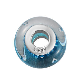 Charmes De Memoire Aqua Murano Glass Bead Charm in Platinum Plated Sterling Silver