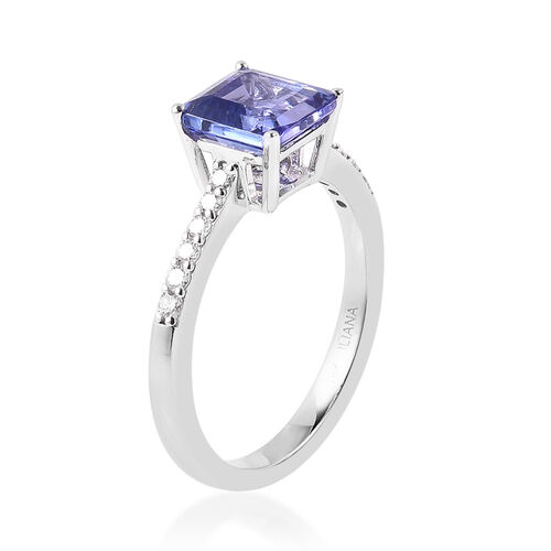 ILIANA 18K White Gold AAA Tanzanite (Asscher Cut 7x7mm), Diamond (SI/G-H) Ring 1.86 Ct.