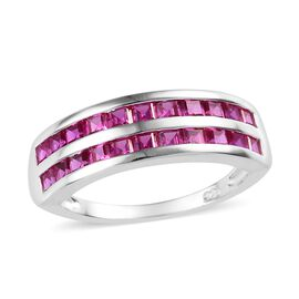 Simulated Ruby (Sqr) Half Eternity Ring in Sterling Silver 1.25 Ct.