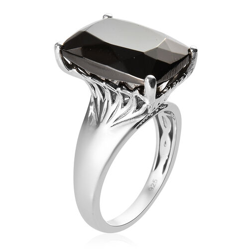 Elite Shungite (Cush 16x12 mm), Natural Cambodian Zircon Ring in Platinum Overlay Sterling Silver 6.54 Ct.