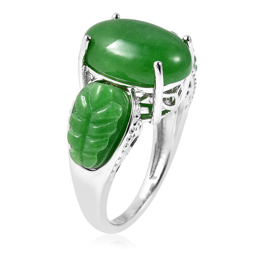 AAA Green Jade (Ovl) Ring in Rhodium Overlay Sterling Silver 12.75 Ct.